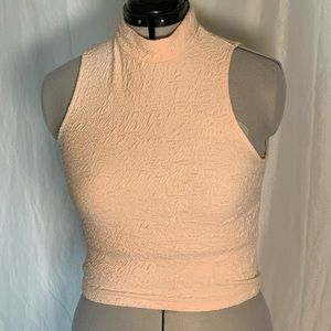 Peach short sleeve turtleneck top